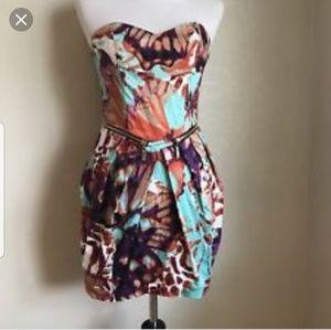 Baby Phat print strapless dress